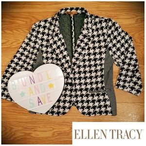 Mixed Houndstooth Plaid 90s Feel Blazer Jacket